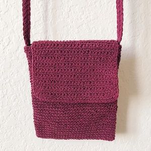 Handbags - Vintage Crochet Garnet Burgundy Crossbody Bag